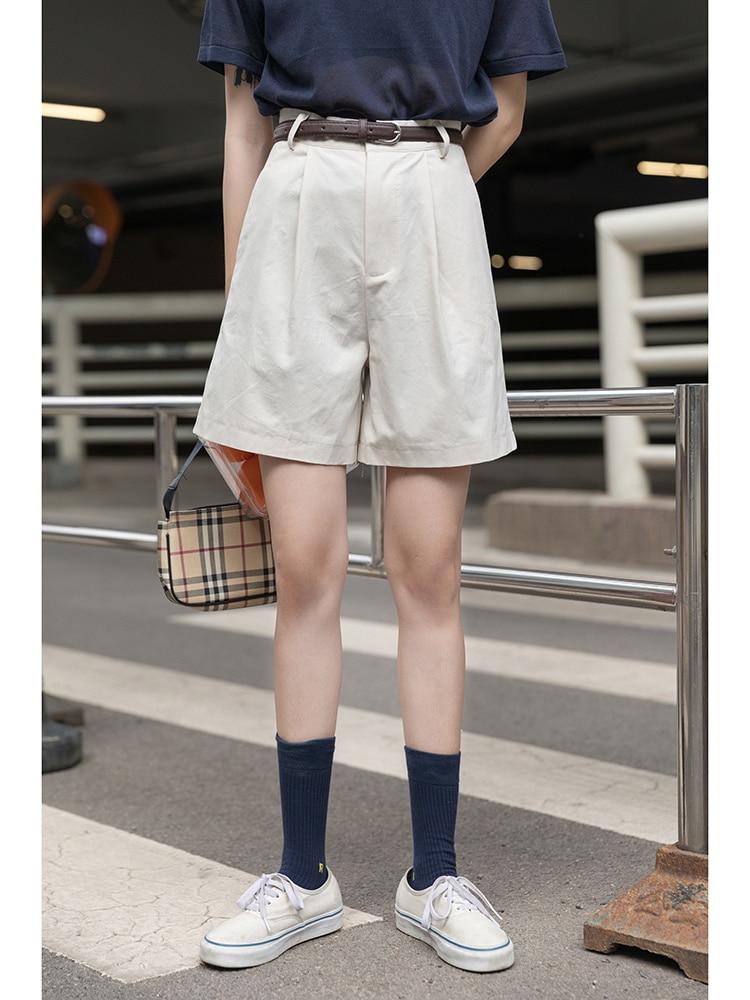 White Suit Shorts Women's Summer Thin High Waist Loose Capris Middle Pants, Wide Leg Casual Pants