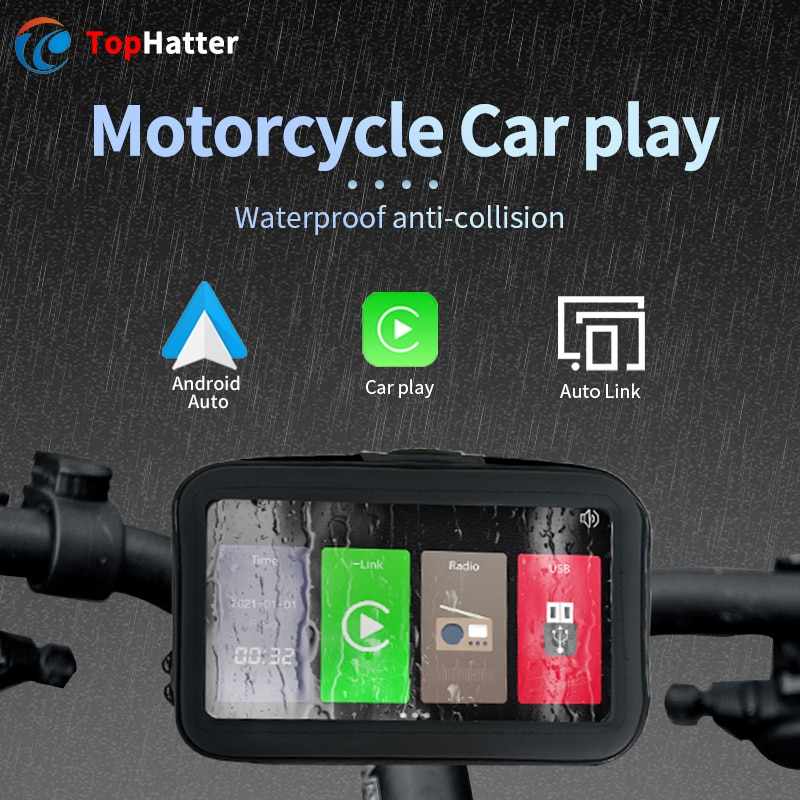 Wireless Portable CarPlay Android Auto Bicycle Motorcycle Cycling AutoLink Waterproof Multimedia Google Navi HD1080 Linux Player