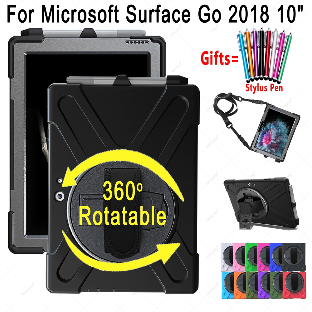 Alça de mão Caso para Microsoft Surface Ir 2018 polegada Safe Kids Silicone À Prova de Choque 360 Rotable 10 Tablet Tampa Corda