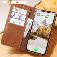 Musubo Luxury Genuine Leathr Case For iPhone 13 Pro Max 13 Pro XR Xs Max 8 Plus 7 Cover Flip Wallet