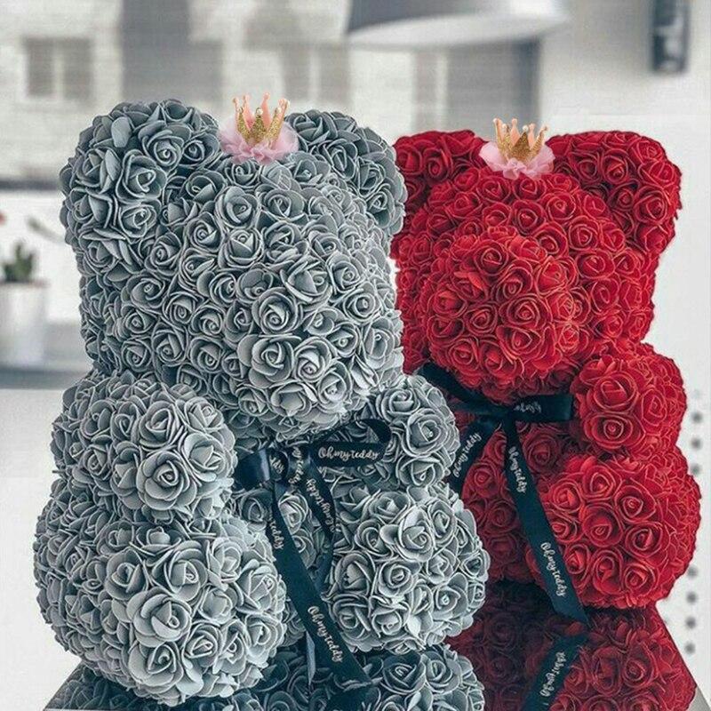 دبدوب مع تاج وردية صناعية ، 2021 ، زهور وهمية ، لحفل الزفاف ، عيد الأم ، كهدية عيد الحب ، عرض خاص