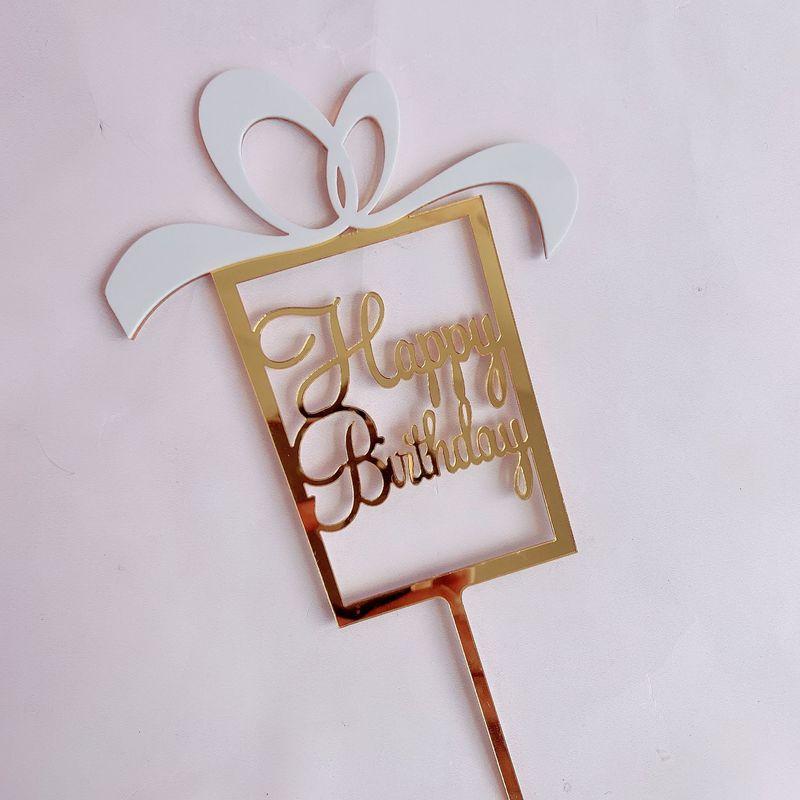 Caja de regalo, decoración para pastel de acrilico feliz cumpleaños, marco dorado y azul, decoración para tartas para niñas, artículos de decoración para fiestas de cumpleaños
