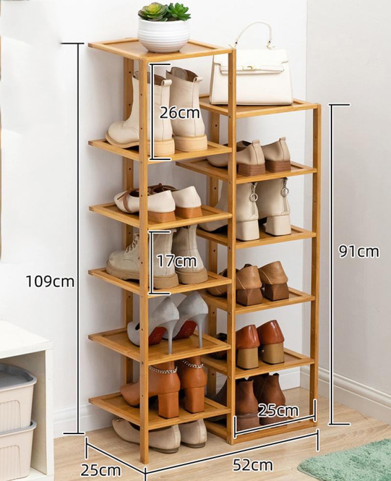 Bamboo Multi Layer Shoes Rack Living Room Floor Shoes Storage Shelf Big Area Storage Shelf