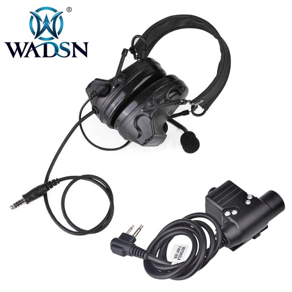Wadsn-comtac-ii/C2 reducción de ruido Softair auriculares WZ041 auriculares con U94 PTT Cable enchufe Z113 Para Kenwood 2 radio PIN