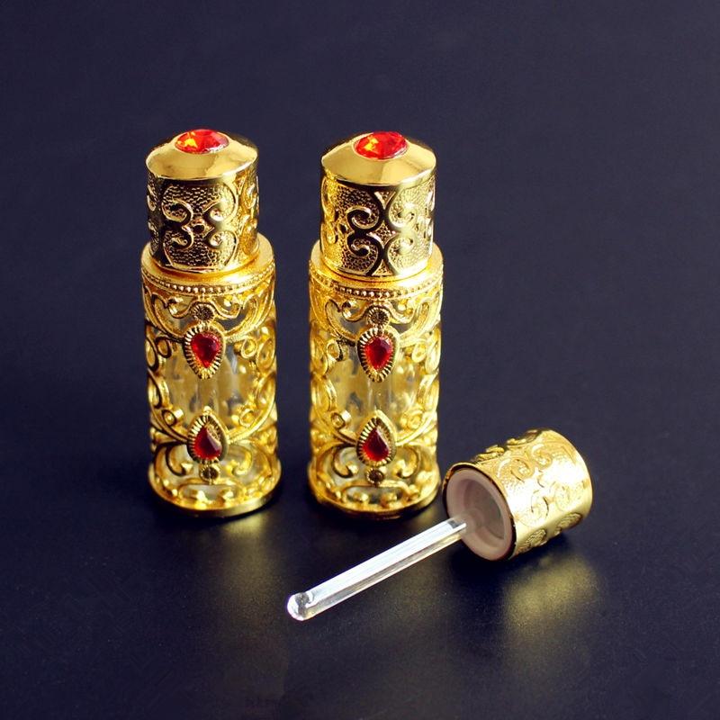 12 قطعة/الوحدة 3 مللي زجاجة عطر سبيكة الزجاج العربية نمط المعادن الزيوت الأساسية زجاجة مع قطارة الزجاج الذهب اللون