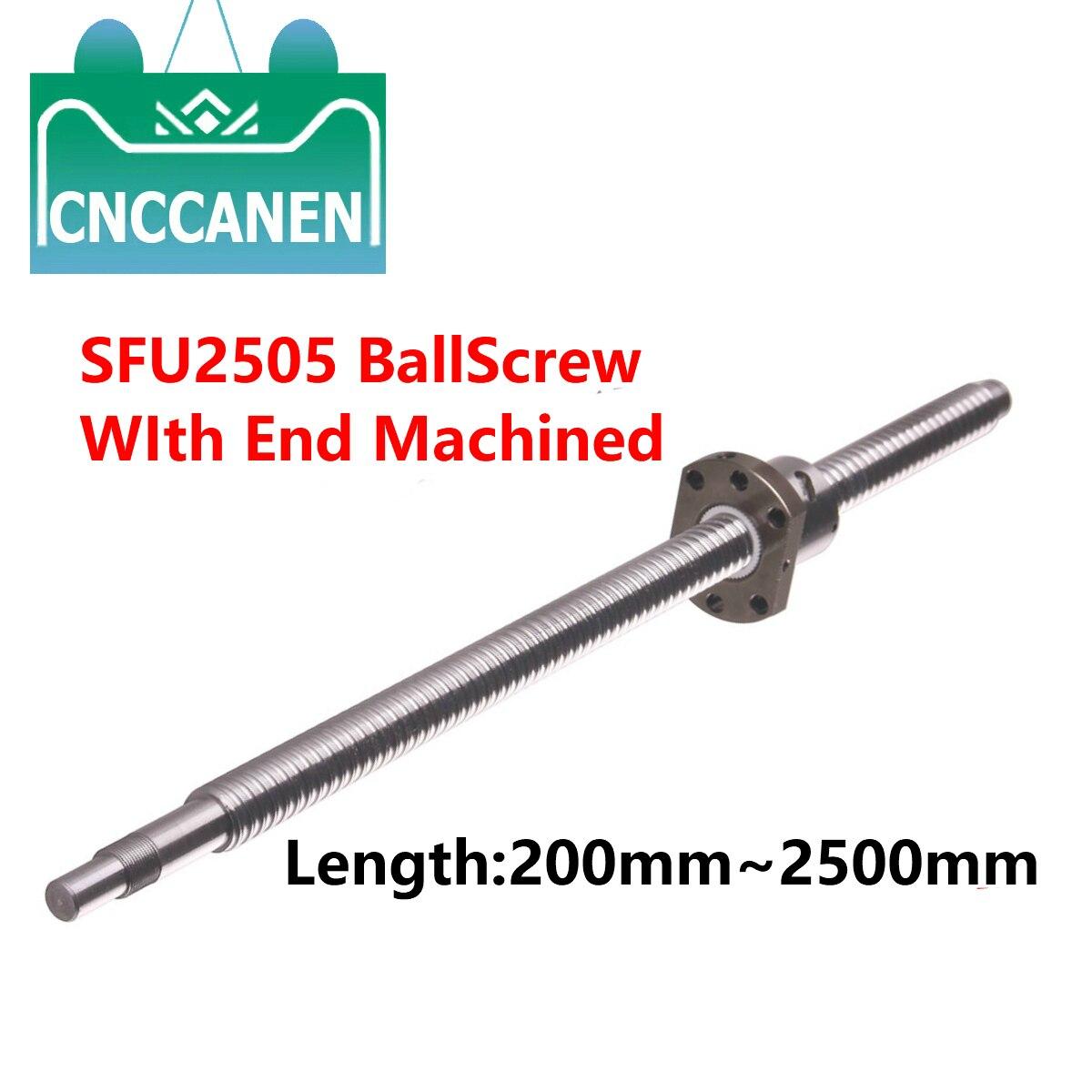 RM2505 BallScrew SFU2505-300 1000 1500 2000 2500 مللي متر الكرة المسمار C7 مع شفة واحدة الكرة الجوز BK/BF20 نهاية تشكيله ل CNC أجزاء