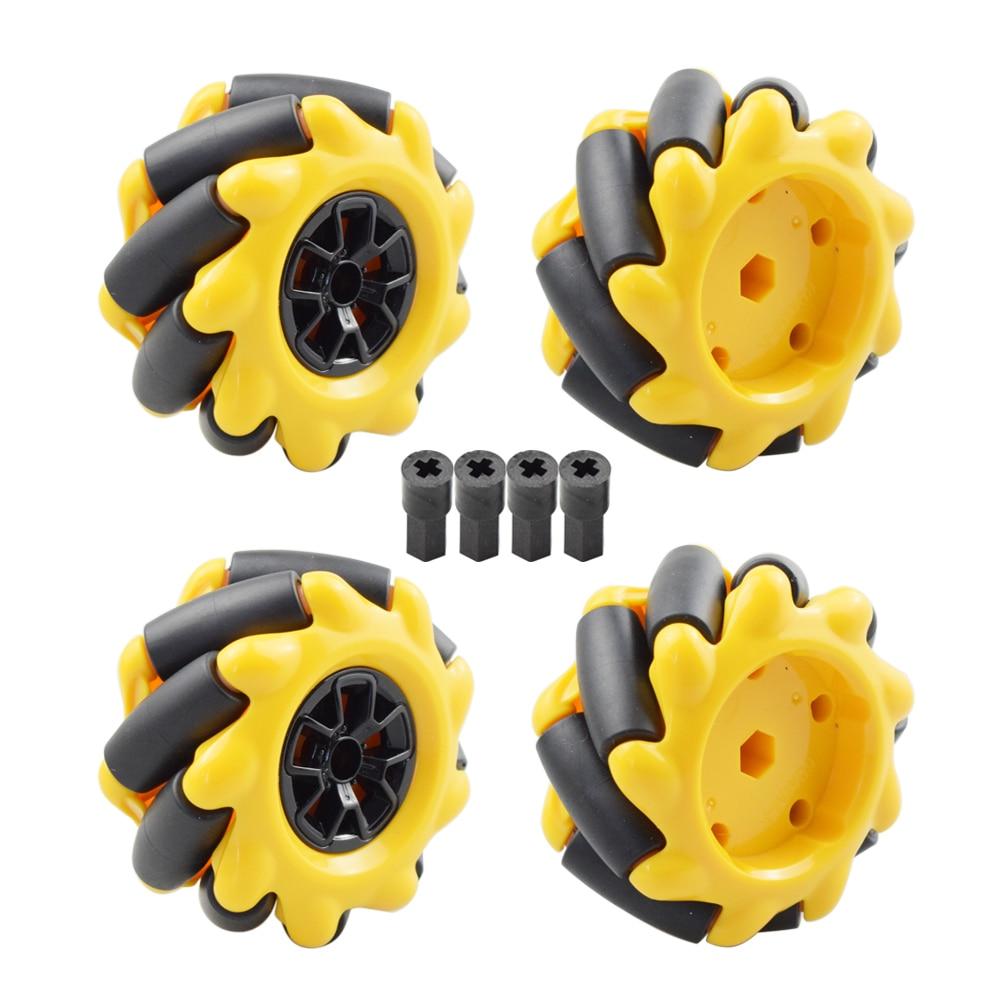 الأصفر 60 مللي متر عجلة Mecanum اومني الاتجاه الإطارات مع 4 قطعة موصل موتور Legos لاردوينو التوت بي لتقوم بها بنفسك لعبة تعمل بالريموت أجزاء
