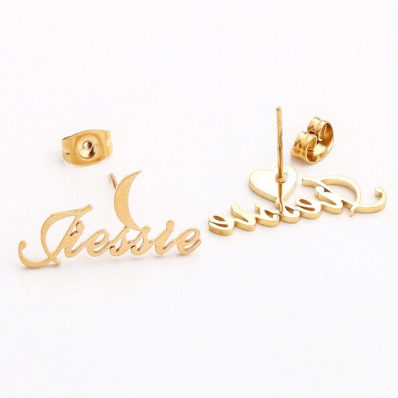 Star&Moon Name Earrings For Women Girl Customized Jewelry Personalized Crown Butterfly Moon Heart Stud Christmas Gifts