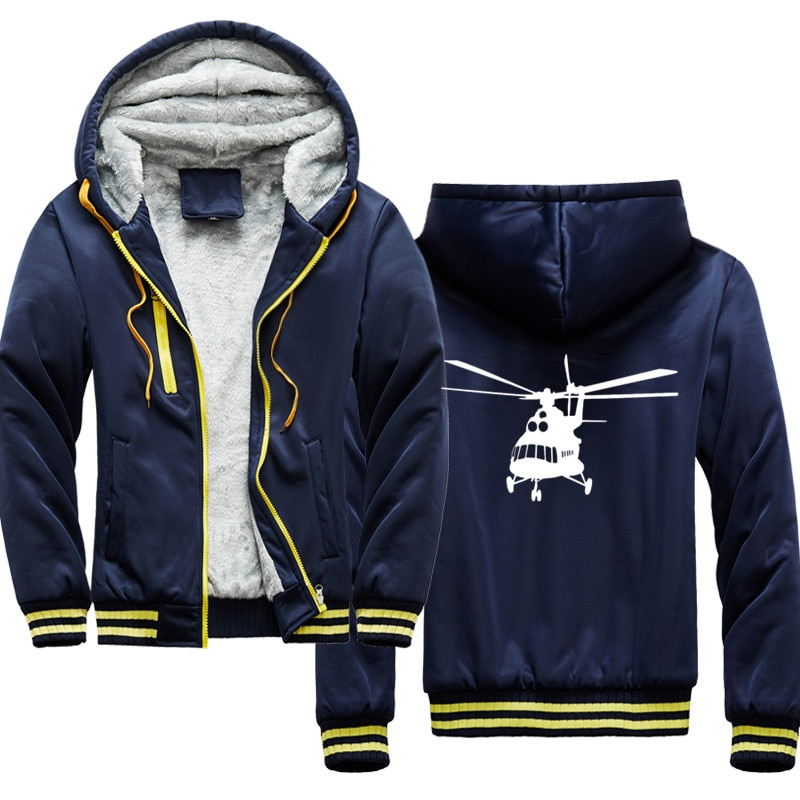 r mi-8 russian helicopter Print Hip Hop Streetwear Hoody 2020 Winter Thick Hoodies For Men Harajuku Zipper Jacket Sweatshirt