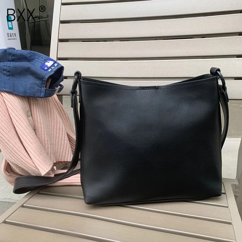 [BXX] Women Early Spring New Retro Bucket PU Leather Personality All-match Crossbody Shoulder Bag Fashion Tide 2021 18A1629