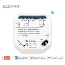 Interruptor de luz inteligente con Wifi, módulo de Control remoto de 2 entradas y 2 vías, compatible con Smart Life, Tuya, Alexa, Echo y Google Home