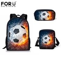 forudesigns hot 3 pcsset children school bags 3d water fire football soccer prints school backpack for teen boys kids book bags