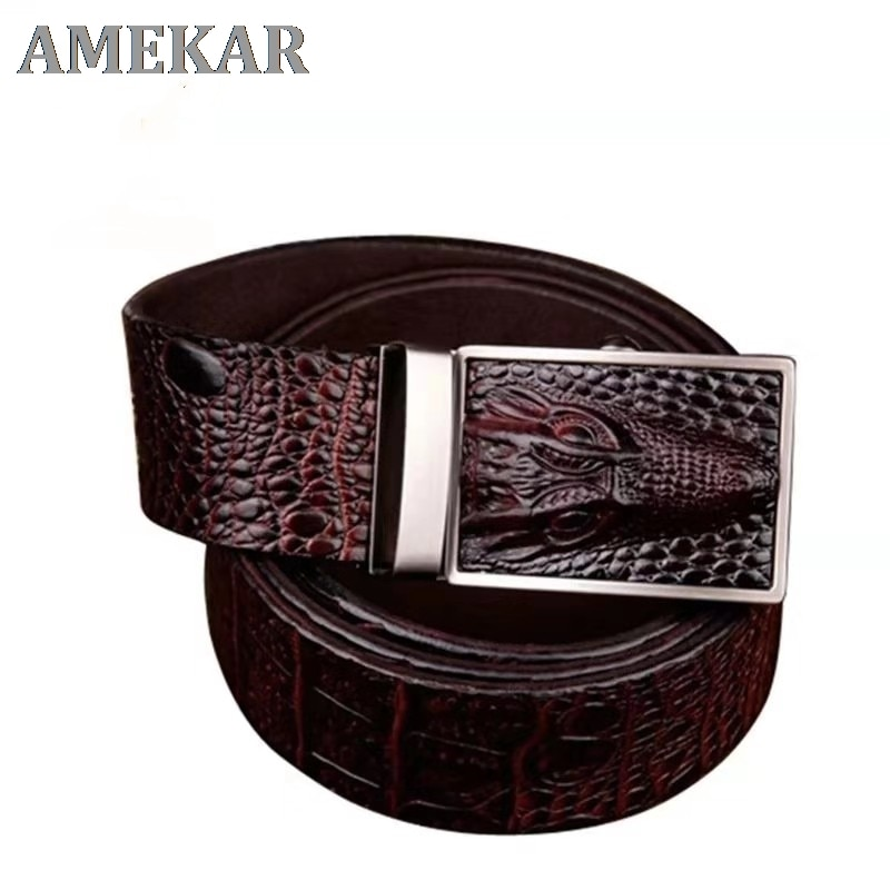 2021 Good Quality Cow Genuine Leather Belts For Men Alligator Pattern Automatic Buckle Mens Belt  Or