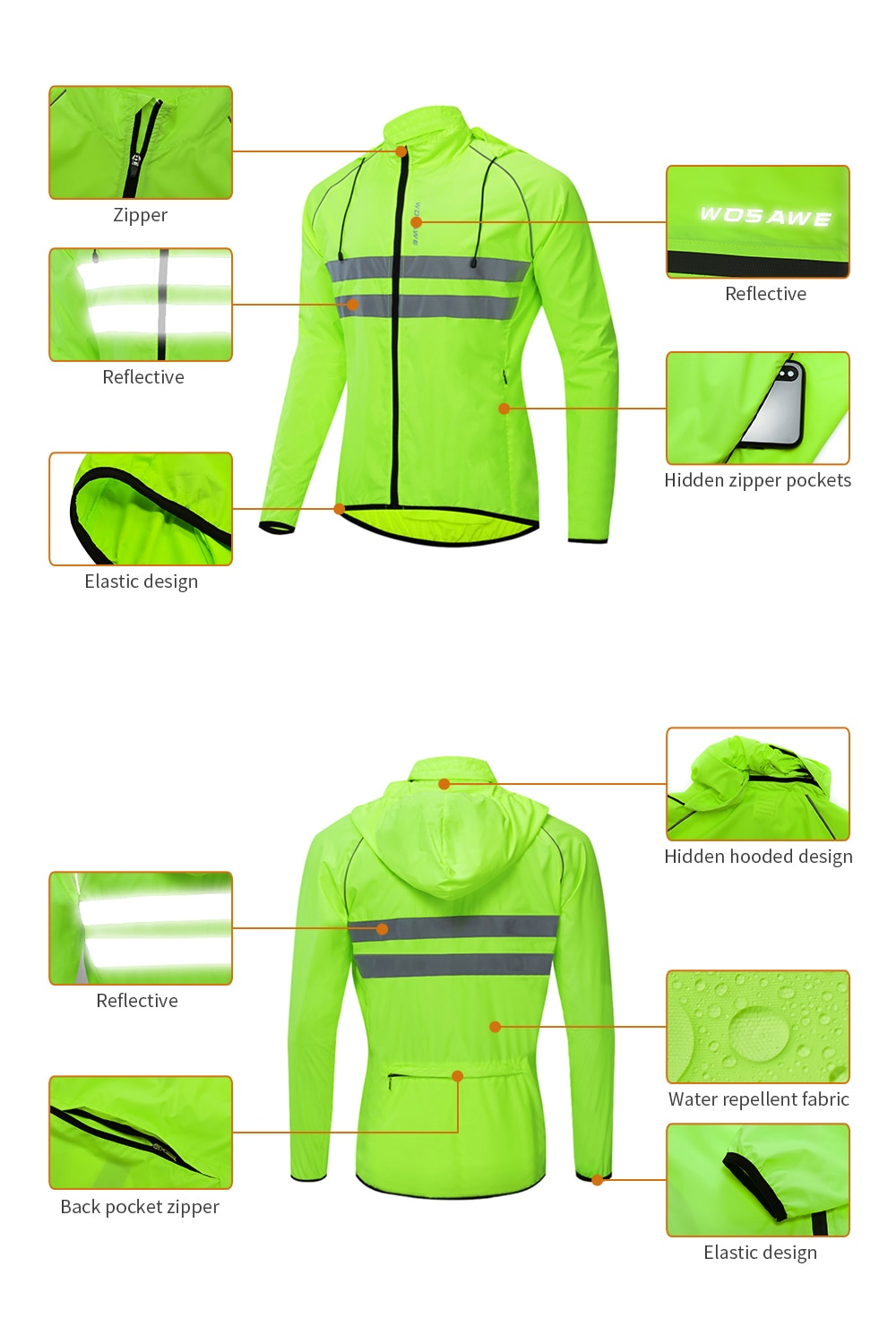 WOSAWE Reflective jacket High Visibility Jacket Waterproof Running Waistcoat Night Riding Safety Vest MTB Cycling Clothes enlarge