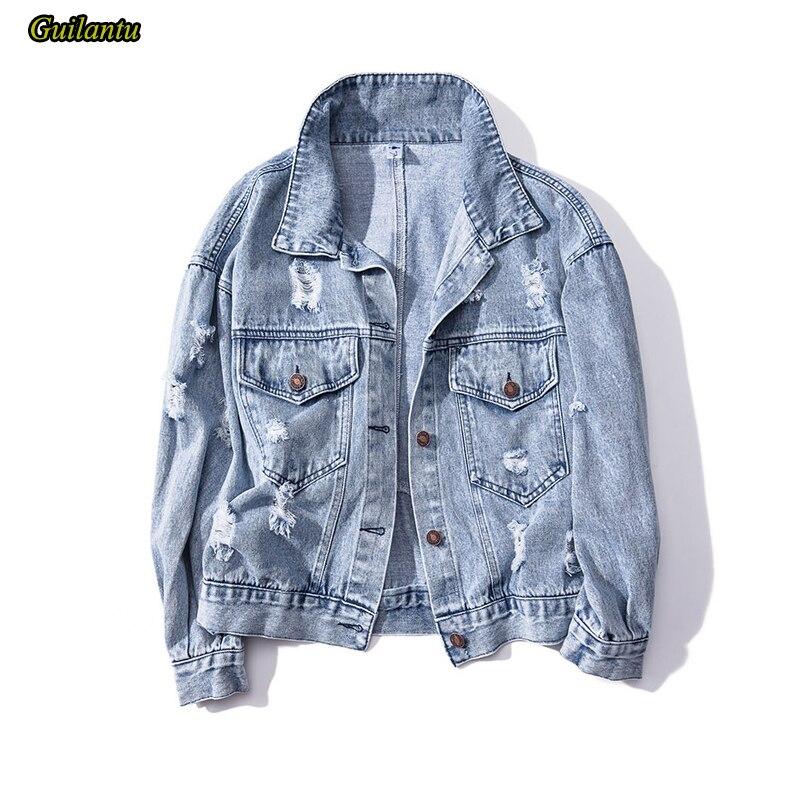 Guilantu-جاكيت دنيم نسائي ، معطف خارجي كبير 5xl ، ياقة مقلوبة ، صدر واحد ، ملابس الشارع ، معطف نسائي عتيق