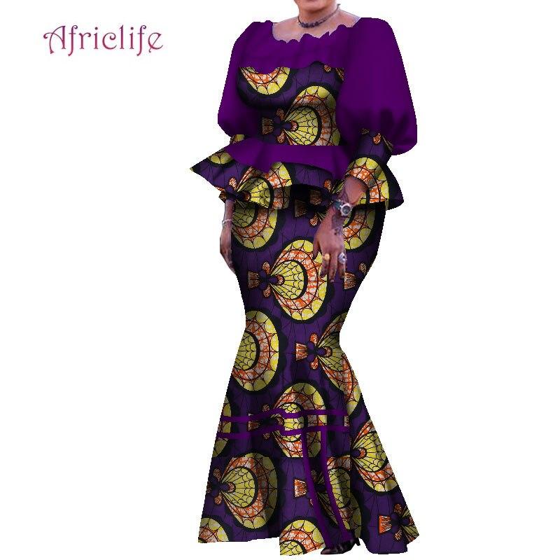 Традиционный Африканский женский костюм с юбкой, плиссированный топ и юбка до щиколотки, Милая женская юбка, осенний комплект WY7907
