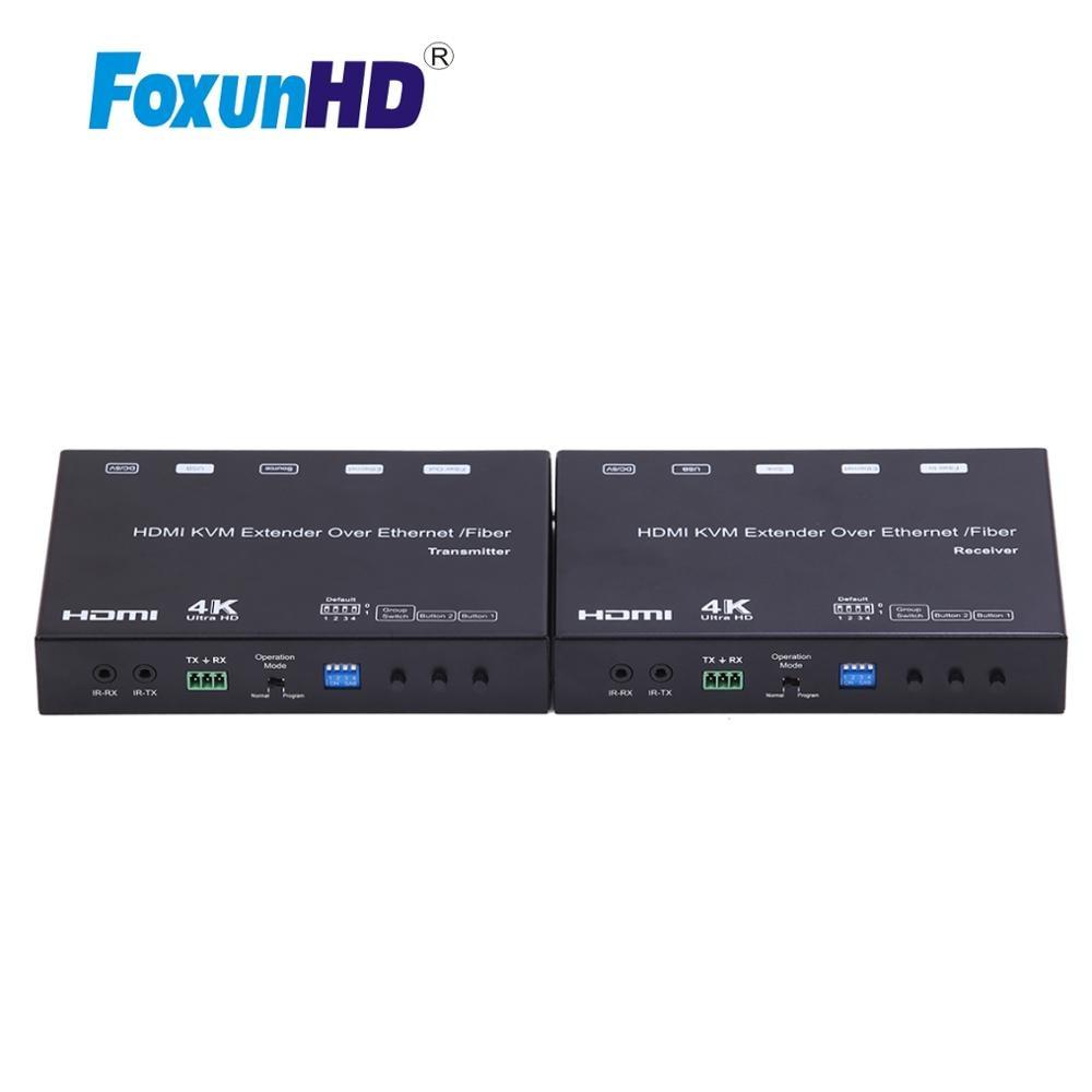 Foxun-موسع HDMI ، AV عبر IP ، مع جدار فيديو ، ألياف مصفوفة EP37 ، 120m ، 4k ، POE