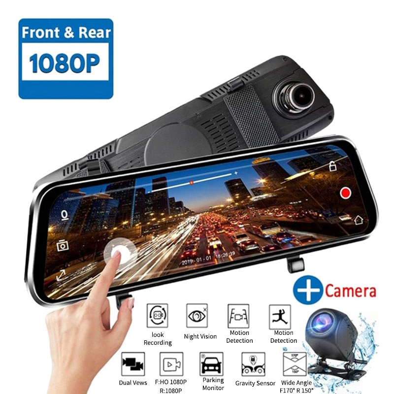 Cámara de vídeo Bestever con pantalla táctil de 10 pulgadas para coche, cámara de vídeo con cámara trasera y espejo retrovisor