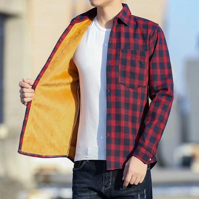 Рубашка мужская кашемировая с длинным рукавом, теплая утепленная Свободная рубашка в клетку, свободного покроя для отдыха, зима