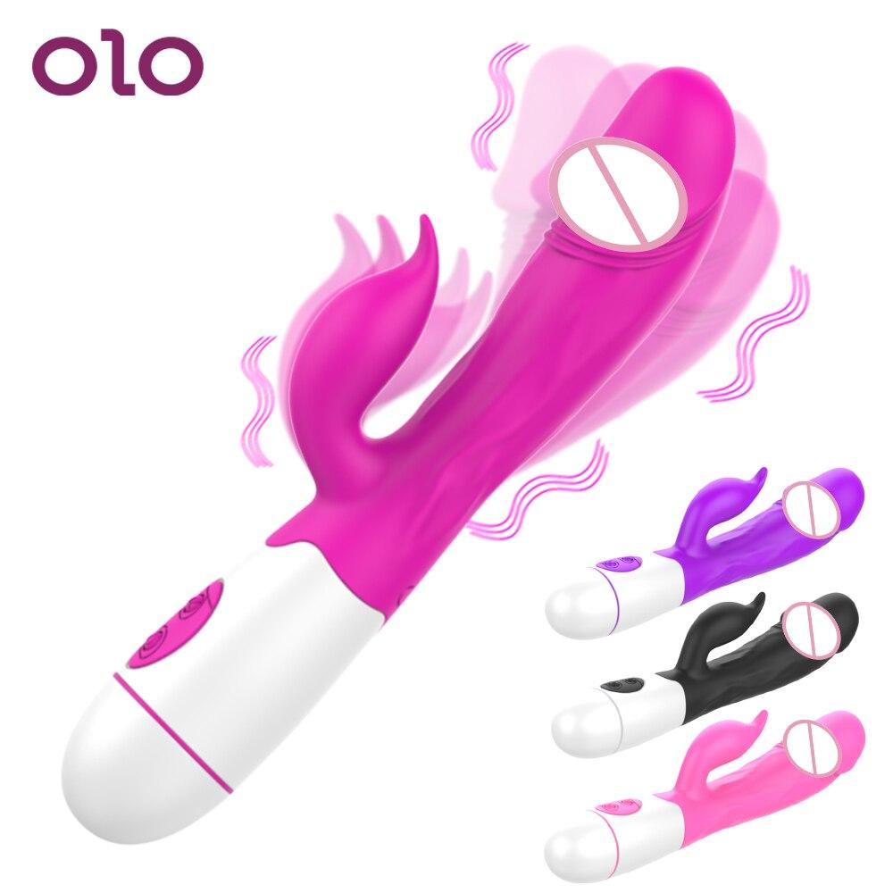 OLO интимные игрушки для женщин G Spot фаллоимитатор кролик Женский, вибратор мастурбатор эротический 30 скоростей двойная вибрация Вагина клит...