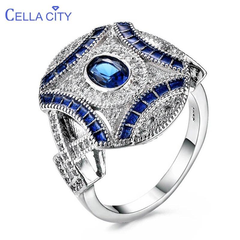 Cellacity na moda jóias finas prata 925 anéis para as mulheres oval pedras preciosas safira zircão azul noivado festa anel presente feminino