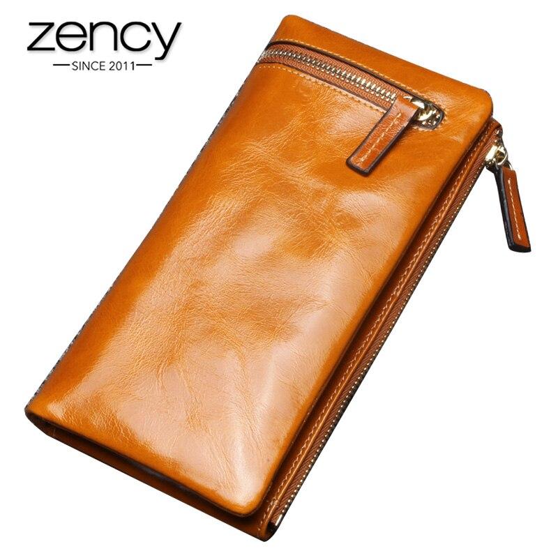 Billeteras Zency de moda para mujer hechas de cuero genuino de gran capacidad monedero tarjetero de alta calidad cartera larga Negro Azul