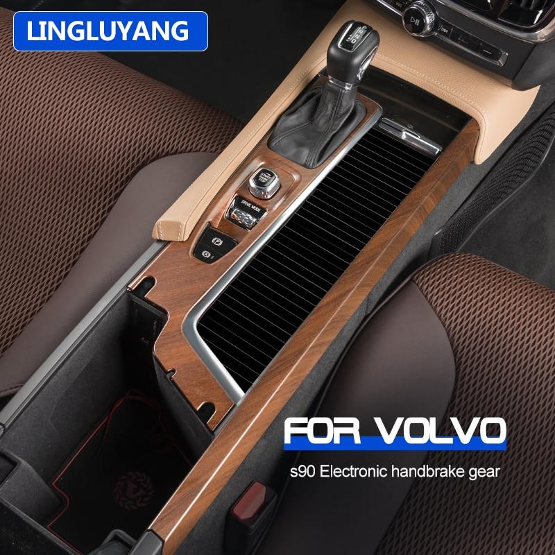 Автомобильный Стайлинг для volvo S90, украшение из персикового дерева, электронный ручной тормоз, задний кондиционер, украшение, автомобильные ...