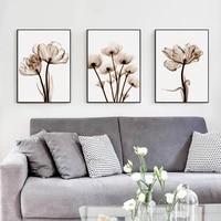 Affiche en toile transparente de fleur de poesie elegante moderne  peinture dart imprimee  decoration murale Simple de maison