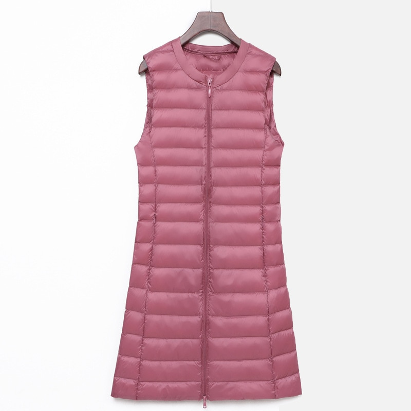 Invierno sin mangas Ultra ligero abajo chaleco largo cuello redondo pato blanco abajo caliente chalecos para mujer 2020 otoño cremallera coreano abrigo femenino
