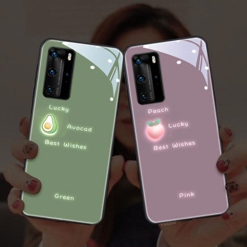 For Huawei P40 P30 P20 Pro Plus Green Music Glow Flash Glass Cellphone Case For Huawei Mate 20 30 Pr