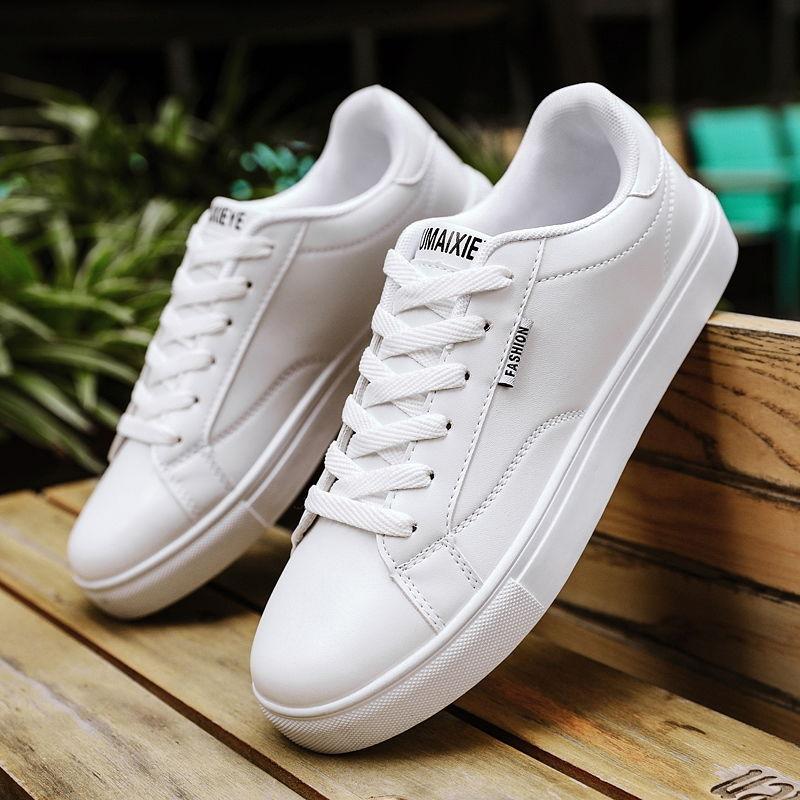 Tênis de Couro Sólido Branco Vulcanizado Sapatos Homem Confortável Meninos Moda Estudante Masculinos Tenis 2021