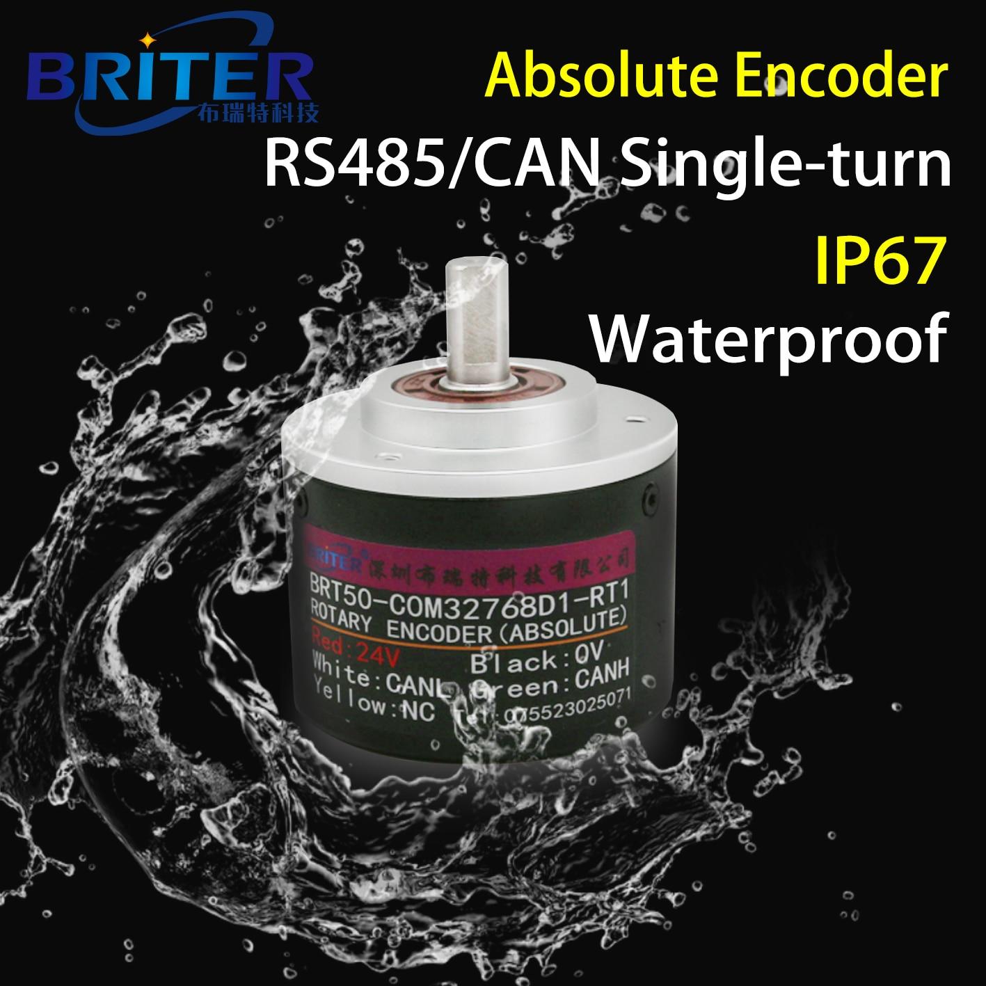 جهاز تشفير دوار أحادي الدوران مقاوم للماء IP67 ، واجهة SSI RS485 ، زاوية عالية الدقة ، قياس السرعة