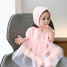 Yg brand children's clothing 2021 summer baby mesh dress cotton creeper hat two piece baby suit