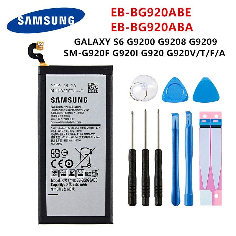 SAMSUNG oryginalny EB-BG920ABE EB-BG920ABA 2550mAh baterii do SAMSUNG Galaxy S6 G9200 G9208 G9209 G920F G920 G920V/T/F/A/I + narzędzia
