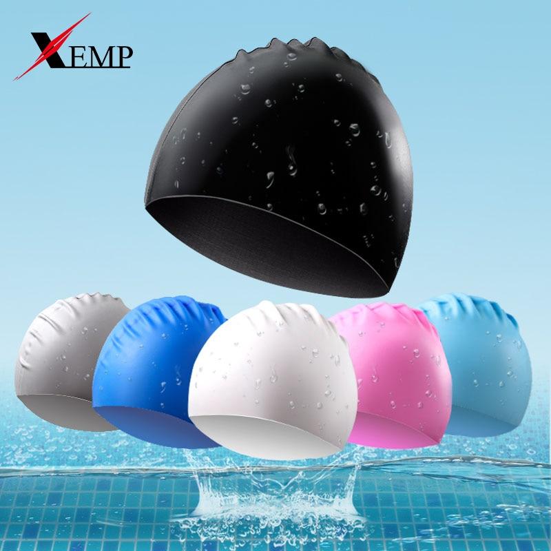 Adults Swimming Caps Men Women Long Hair Waterproof Swim Pool Cap Ear Protect Large Natacion Badmuts Silicone Diving Hat