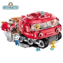 Octonauts blocos de construção brinquedo ferradura caranguejo barco conjunto iluminação crianças diy brinquedos criança partículas blocos de construção tijolos brinquedos