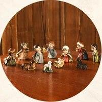 joylive resin nativity xmas figurine jesus hand painted manger miniatures ornaments 2021 new