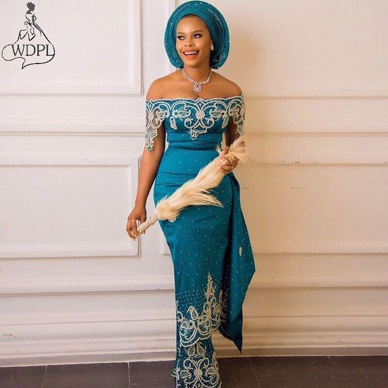 Aso Ebi Teal sirena vestido de noche fuera del hombro con cuentas de encaje sirena vestidos de graduación africano Nigeria talla grande mujer fiesta vestidos