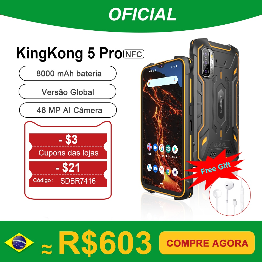 Cubot KingKong 5 Pro IP68/IP69K Waterproof Smartphone Rugged Phone 8000mAh 48MP Triple Camera Android 11 NFC 64GB Global 4G LTE