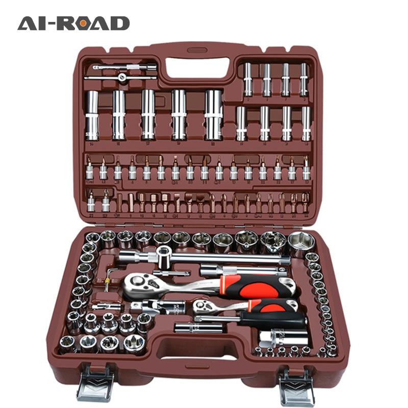 "53pcs1/4""set Car Motorcycle Repair Tool Ratchet Wrench Set Drive Socket Spanner Kit  Batch Head Screwdriver  Socket Set DIY Toos"