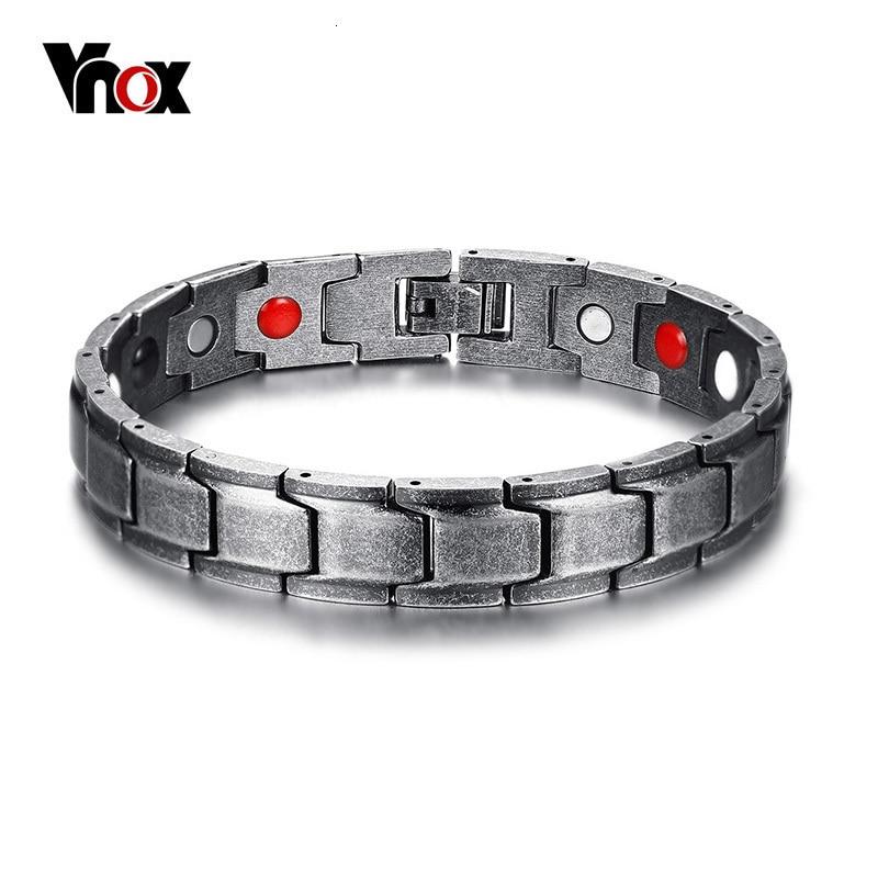 Vnox Vintage Healing FIR Magnetic Bio Energie Armband für Männer Blutdruck Zubehör Retro Alte Farbe Armbänder