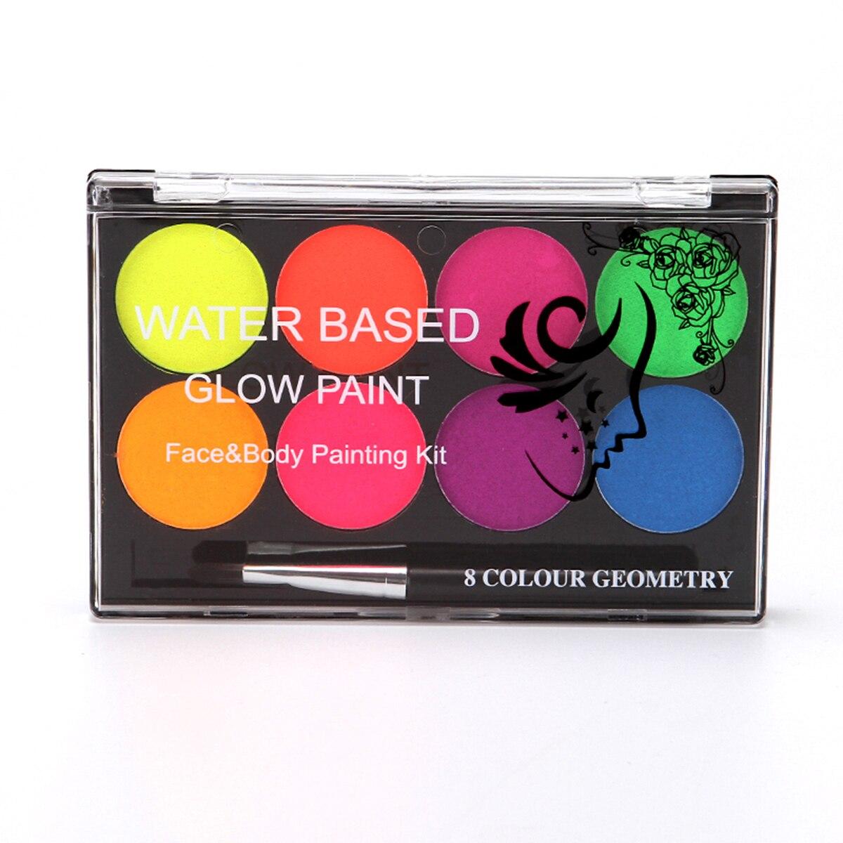Kit de pintura corporal para rostro, pintura brillante profesional a base de agua, 8 colores con pincel de pintura, insípido para disfraz de fiesta de maquillaje