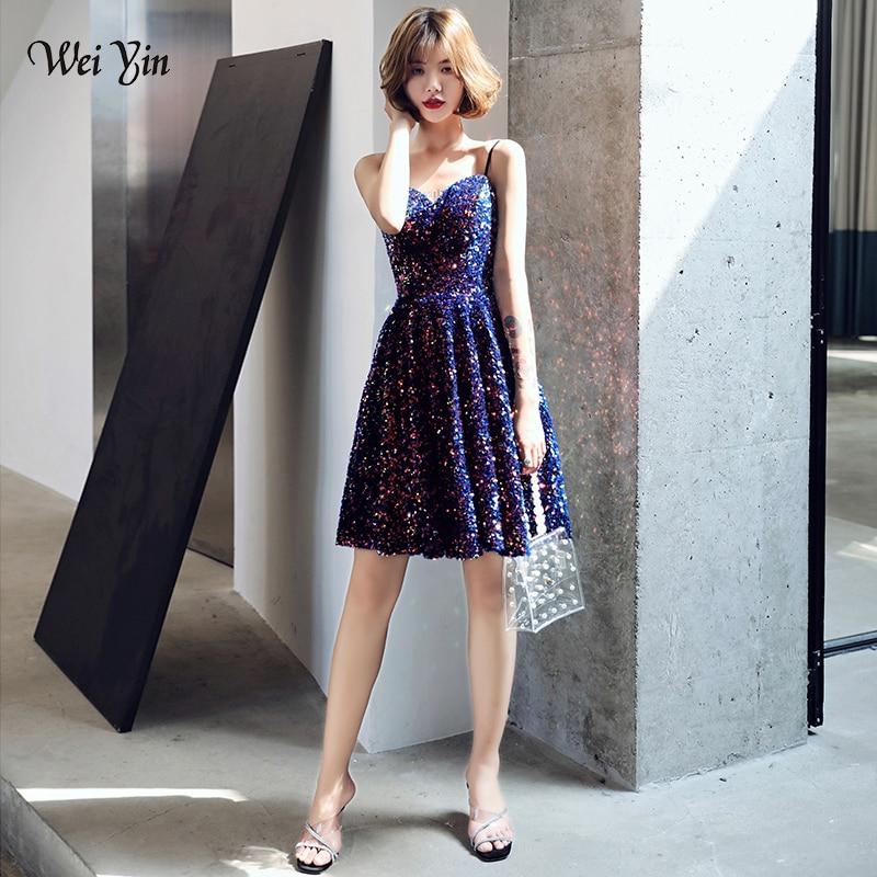 Wei yin-فستان كوكتيل مثير ، ترتر ، ياقة على شكل V ، رسن ، فستان سهرة ، أسود ، رخيص ، مجموعة جديدة ، AE0233