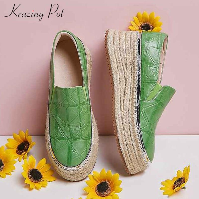 Krasing pot-حذاء نسائي من جلد الغنم ، نعل سميك ، مقاوم للماء ، سهل الارتداء ، خريفي ، للارتداء اليومي ، L84