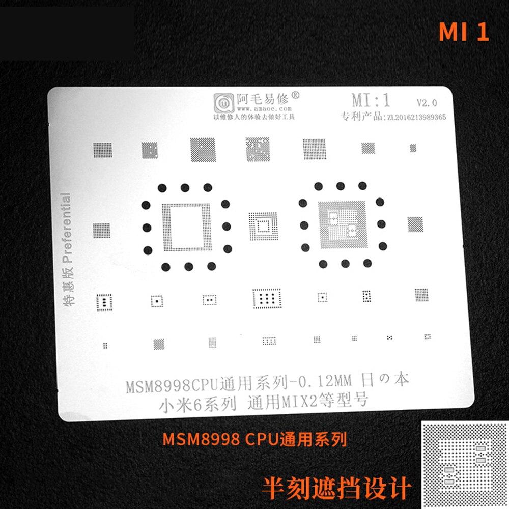 Amaoe Planta Estanho Rede de Solda BGA Reballing Stencil para Xiaomi Redmi Nota CPU MI1/2/3/4/5 IC 0.12 milímetros
