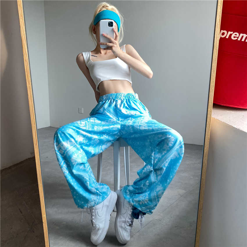 Pants Women's Spring New Japanese Bf Paisley Straight Wide-Leg Pants High Waist Loose and Slimming L