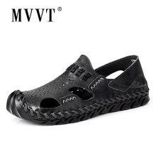 Plus Size Men sandalias Split Leather Sandals Men Summer Shoes Classics Comfort Beach Sandals Hollow Men Shoes Foot Wear