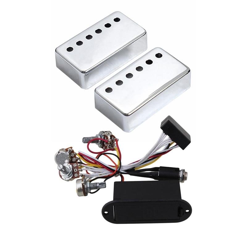2 pçs humbucker pescoço & ponte captador de guitarra cobre chrome & 1 pcs 2 banda ativo baixo guitarra preamp circuito captador preto