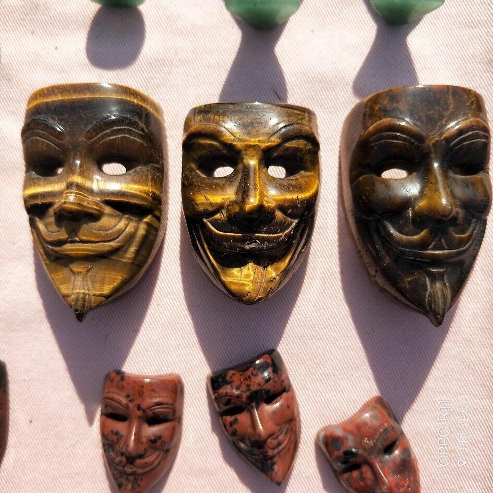 Natural tigre olho cristal crânio máscara mão esculpida feng shui cura casa ornamento arte collectible