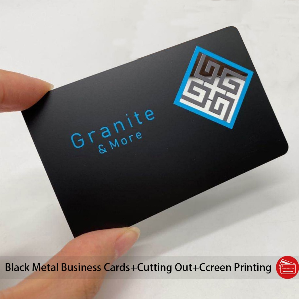 Cheap black stainless steel business cards/black metal cards for cutting out screen printing